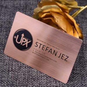 Brushed metal business cards